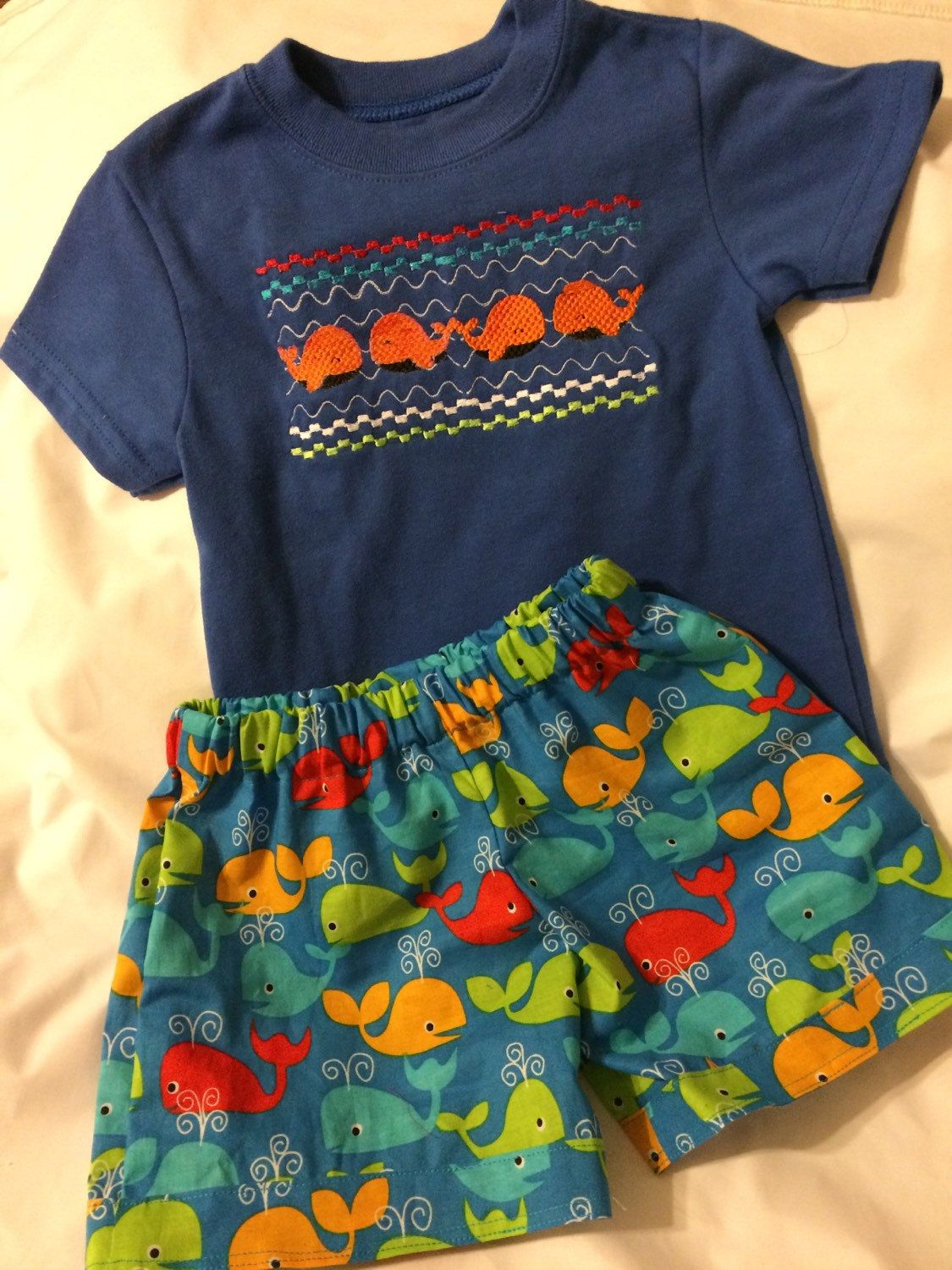 bbc15353 Boys beach outfit summer short set boys whale outfit boys short sets.  Machine smocked on blue tshirt ...