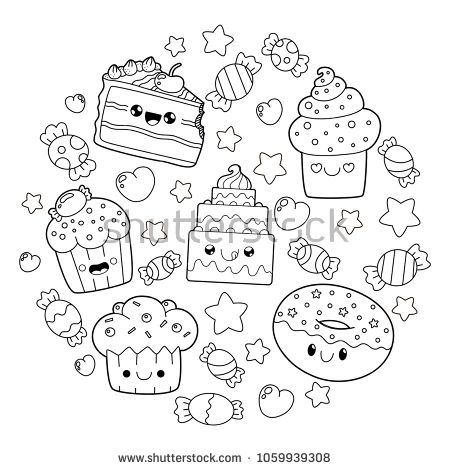 Best Of Dessert Kawaii Food Coloring Pages Sugar And Spice