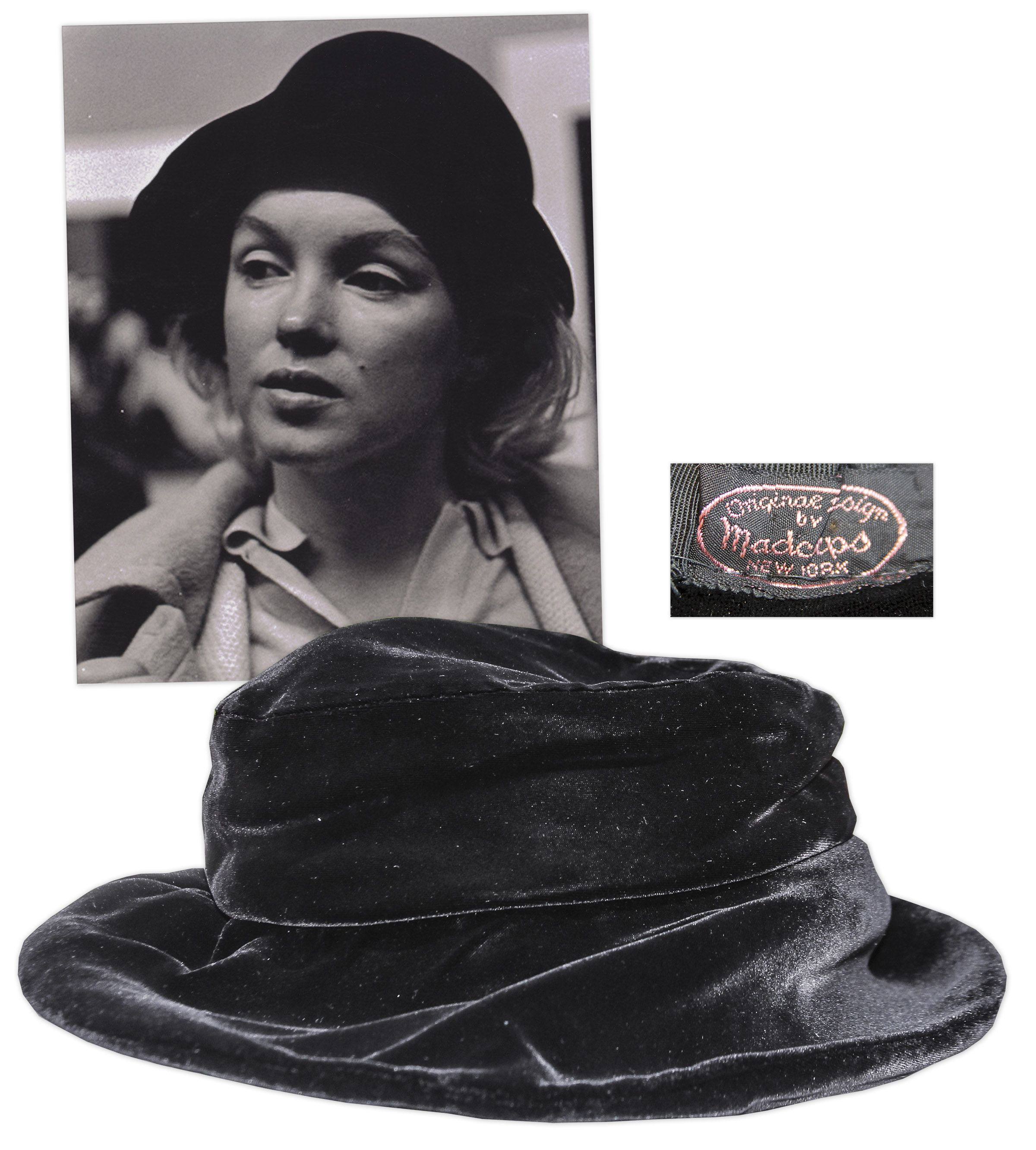 Black velvet floppy hat with upturned brim 7290b633a85