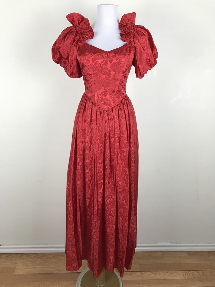 Vintage 1980s Prom Dress Small S Red Floral Puffed Sleeves Dance Party Formal JCPenney