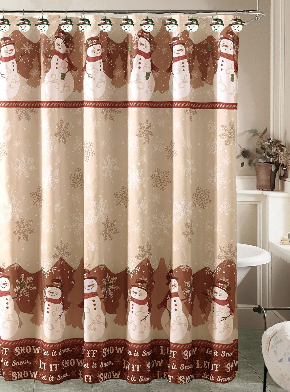 Beatrice Christmas Holiday Snowman Shower Curtain With 12 Resin Hook Rings Bathroom Set