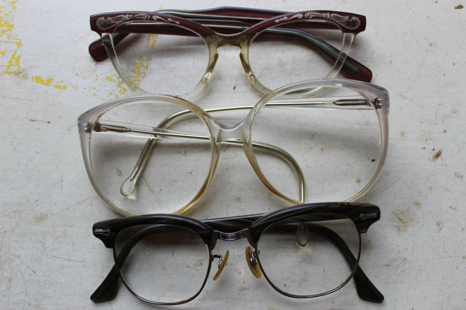 Vintage Set of Three Eye Glasses Shop Glasses 1980's 1970