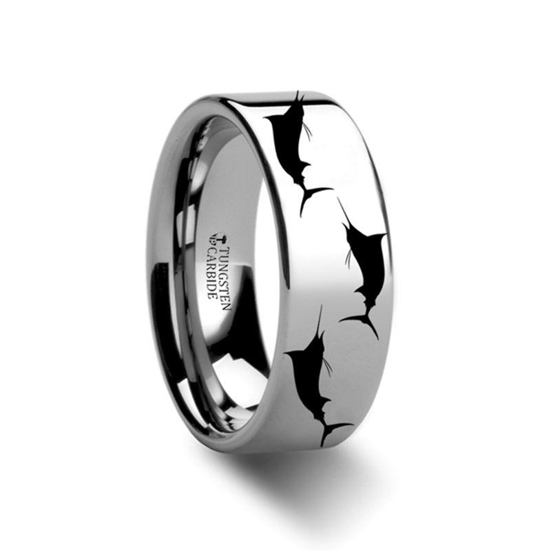 Marlin Fish Pattern Engraved Flat Tungsten Ring 4mm 12mm