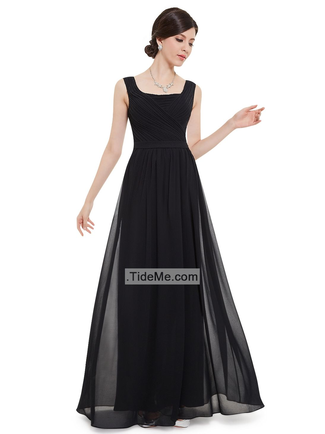 Black straps chiffon ruched sheath v back cheap long bridesmaid