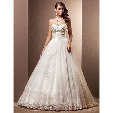 Vestido de Noiva Trapézio/Princesa Sem Alças/Coração Cauda Corte (Cetim/Tule) – BRL R$ 1.223,97