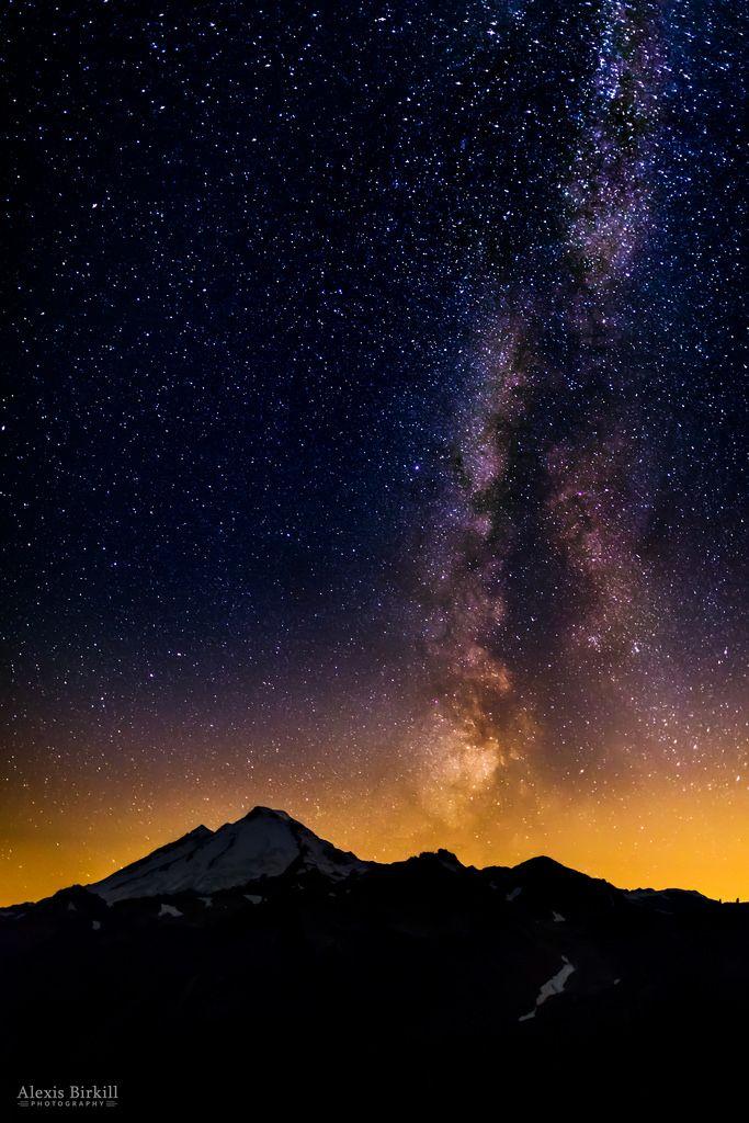 Milky Way over Mount Baker Night sky photography, Milky
