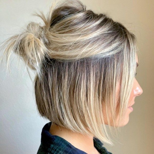 100 Best Bob Hairstyles You Have To Try Short Hair Bun Short Hair Balayage Thick Hair Styles