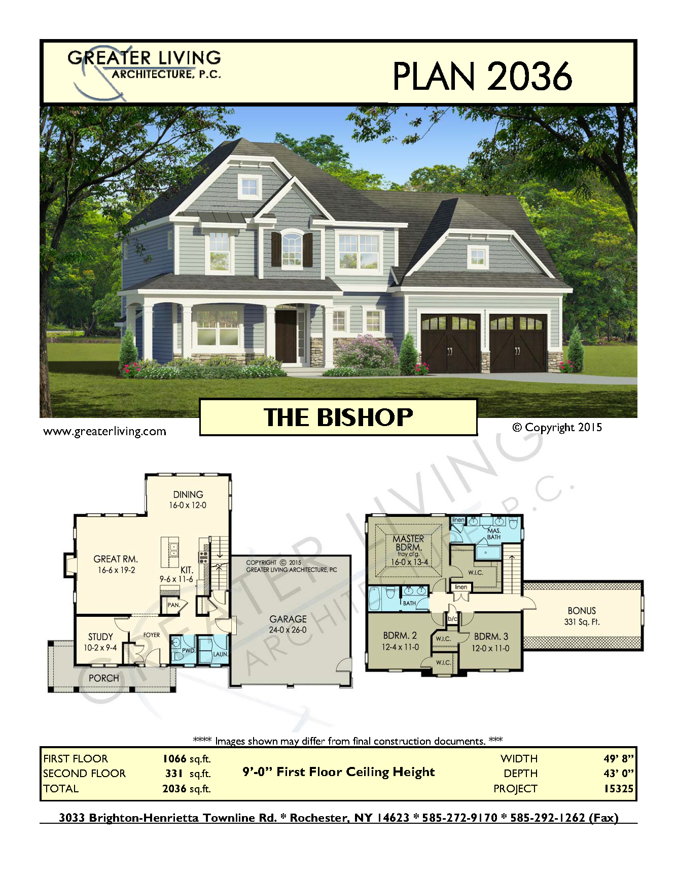 Plan 2036 THE BISHOP House Plans 2 Story House Plan Greater