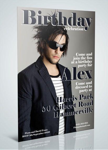 Mens Magazine Cover 4 Birthday Invitation Male 21 Party Ideas