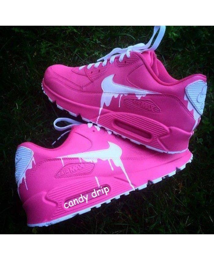 more photos 59b42 16fd6 Chaussures Nike Air Max 90 Candy Drip Cherry Rose Blanc