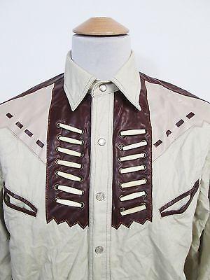 Vintage American Clothing Denim Leather Rockstar Pop Snap Shirt S Vintage Denim Shirt American Vintage Clothing Denim Shirt