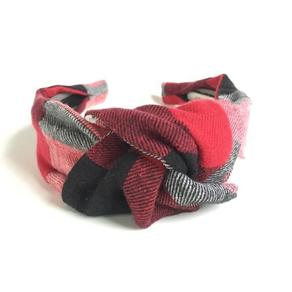 59be173d8cf47 Buffalo Plaid Top knot headband red black & white 40's vintage style ...