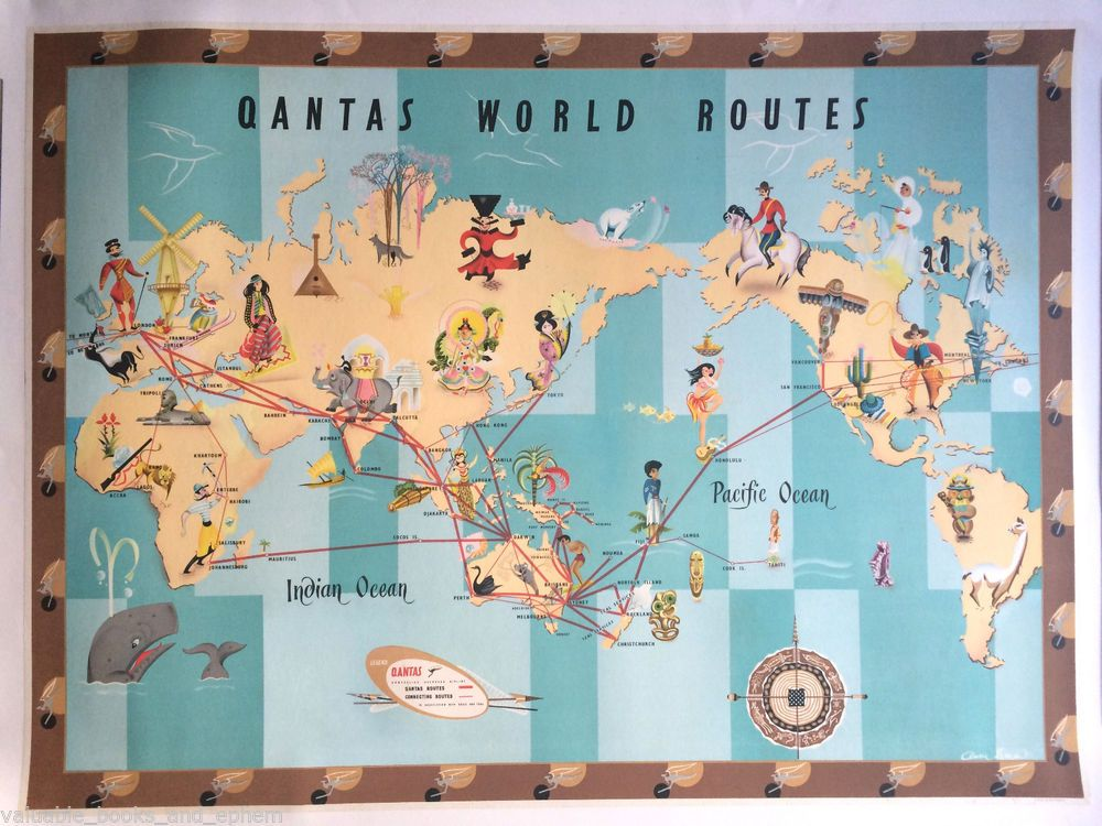 Original Travel Poster Qantas World Route Map Planisphere 39x29 - new air france world map flight routes c.1948