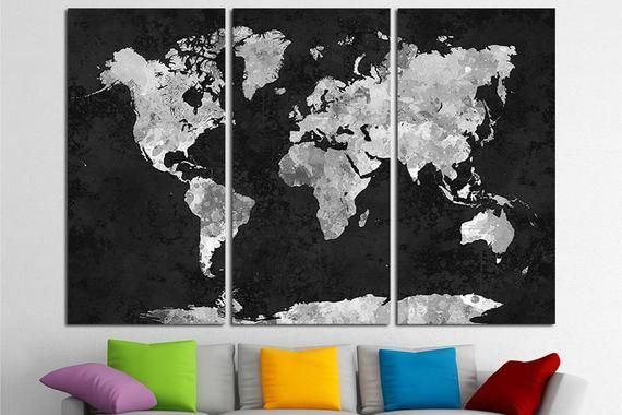 Canvas Set of Watercolor World Map #worldmapmural