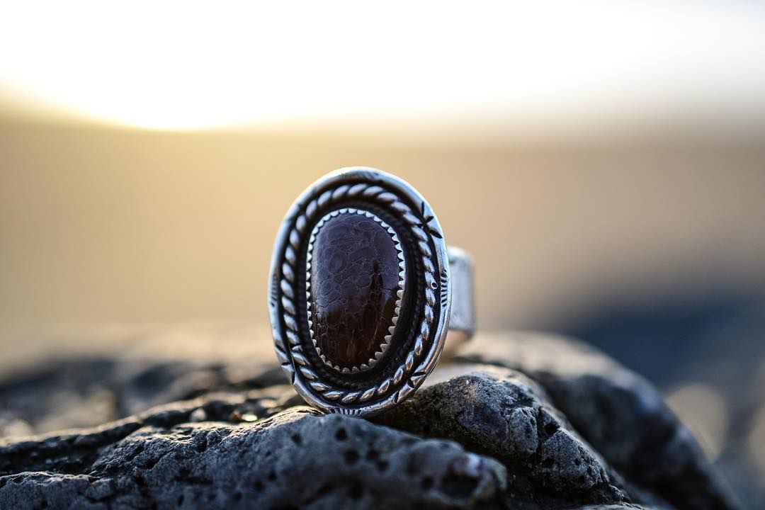 Fossilized dinosaur bone and sterling silver by sacred.geometry_