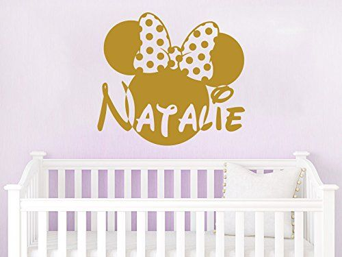 Name Wall Decal Minnie Mouse Head Bow Disney Vinyl Decals Sticker ...