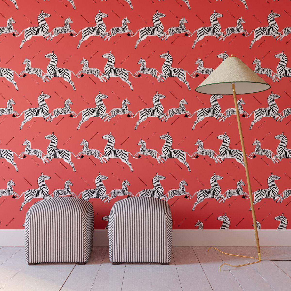 Coral Zebra Upholstered Custom Peel And Stick Wallpaper Roll Zebra Print Wallpaper Peel And Stick Wallpaper Wallpaper Roll