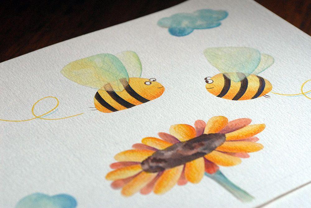 Dessin Original A L Aquarelle Et Crayons De Couleur Pour Le Livre