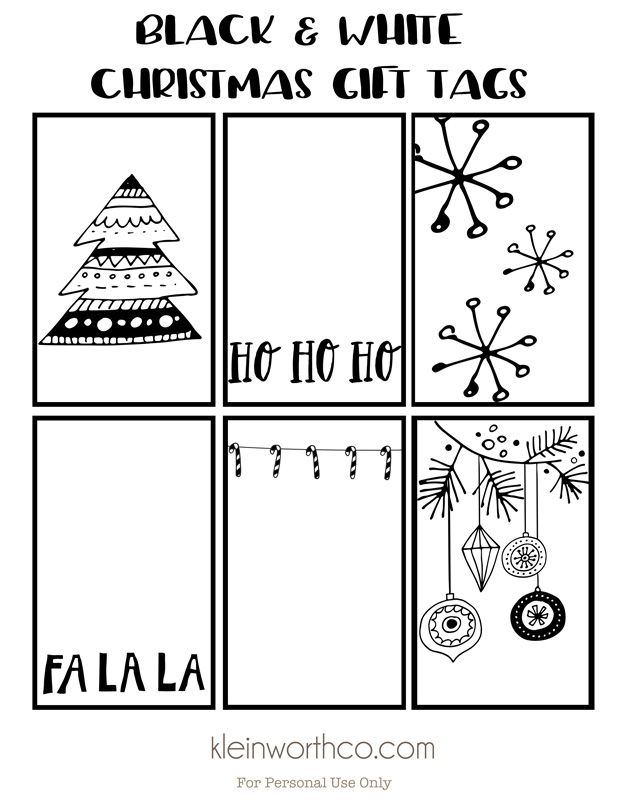 picture about Printable Christmas Tags Black and White called black-white-xmas-present-tags-800 Label itif it
