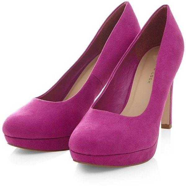 Wide Fit Dark Pink Platform Court Shoes (400 UYU) ❤ liked on Polyvore
