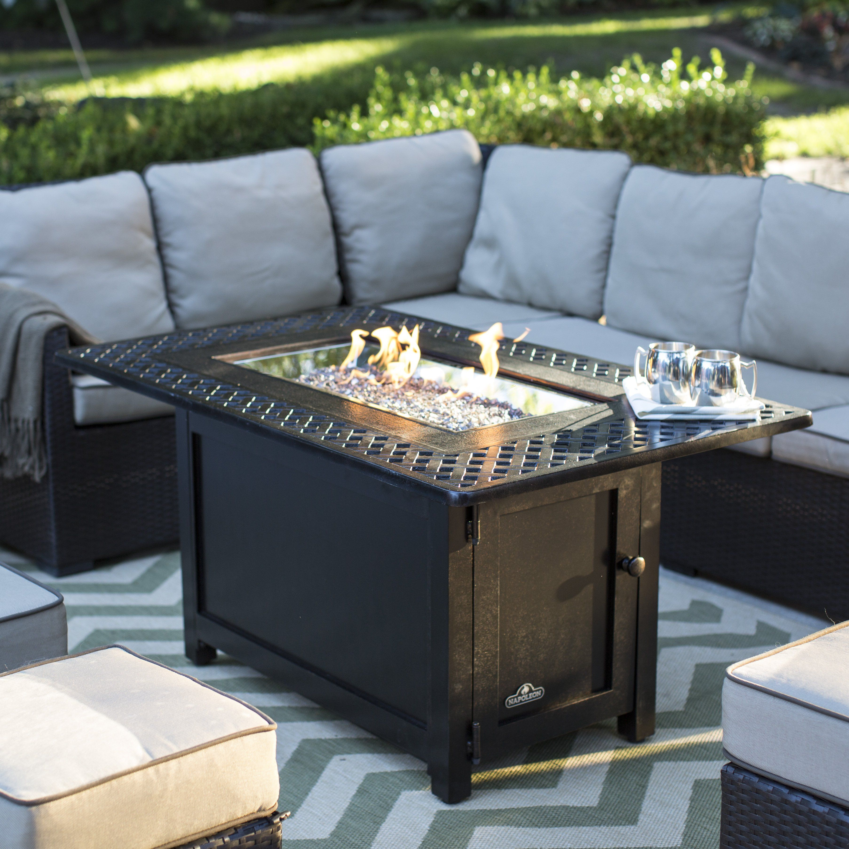 Napoleon victorian rectangle patioflame gas fire pit table vict