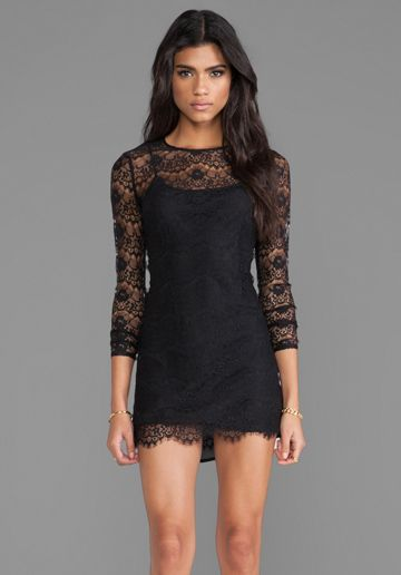 keepsake Love Magic Long Sleeve Dress in Black Lace