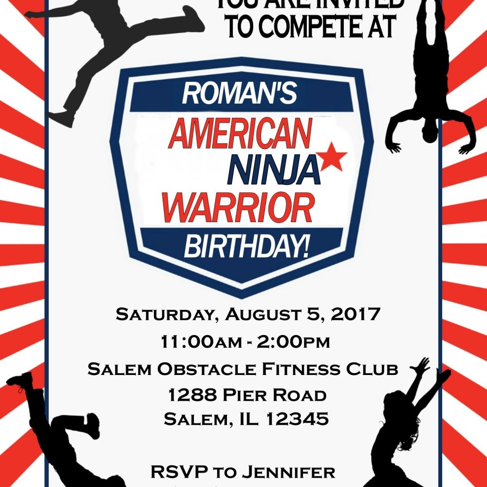 NEW American Ninja Warrior - Birthday Invitation - Digital File