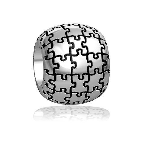 Amazoncom Autism Awareness Puzzle Bead in Sterling Silver Sziro