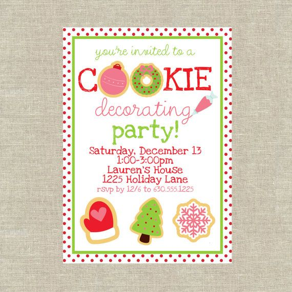 cookie decorating party Unique Pastiche Events – Christmas Cookie Party Invitations