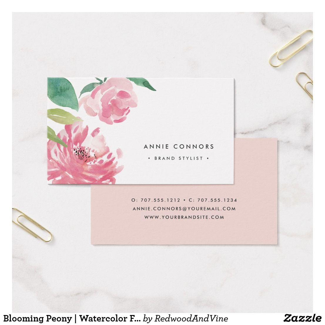 Blooming Peony Watercolor Floral Business Card Zazzle Com Blue Watercolor Floral Floral Watercolor Floral Business Cards