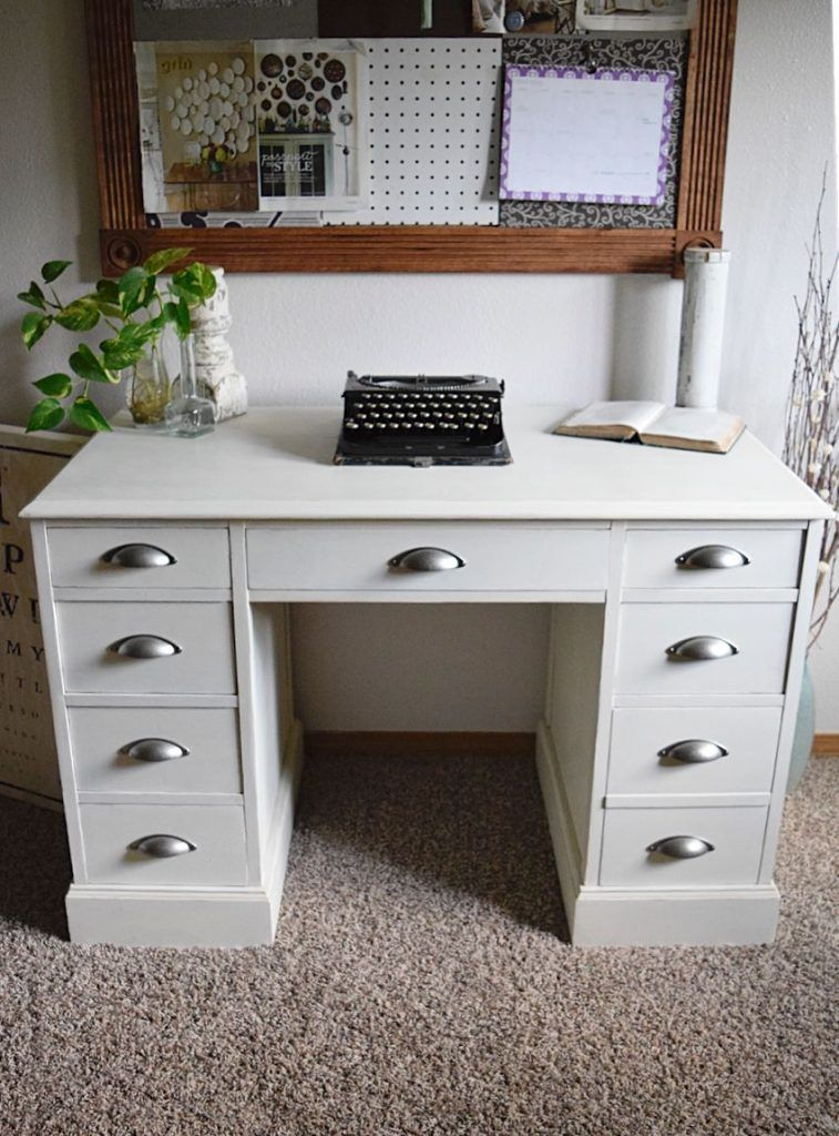 White Desk Restyle Woodworking furniture plans