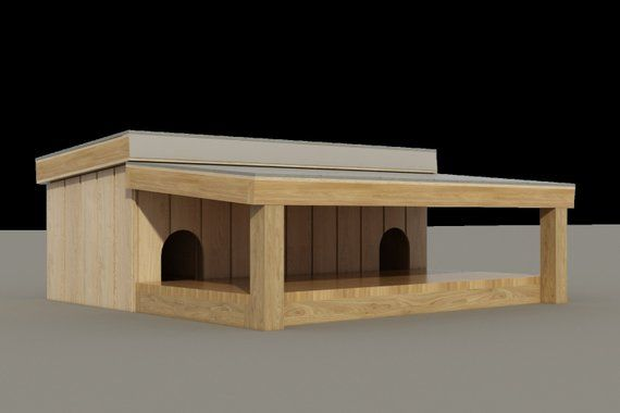 Plans To Build A Medium Sized Multi Dog House With Covered Porch