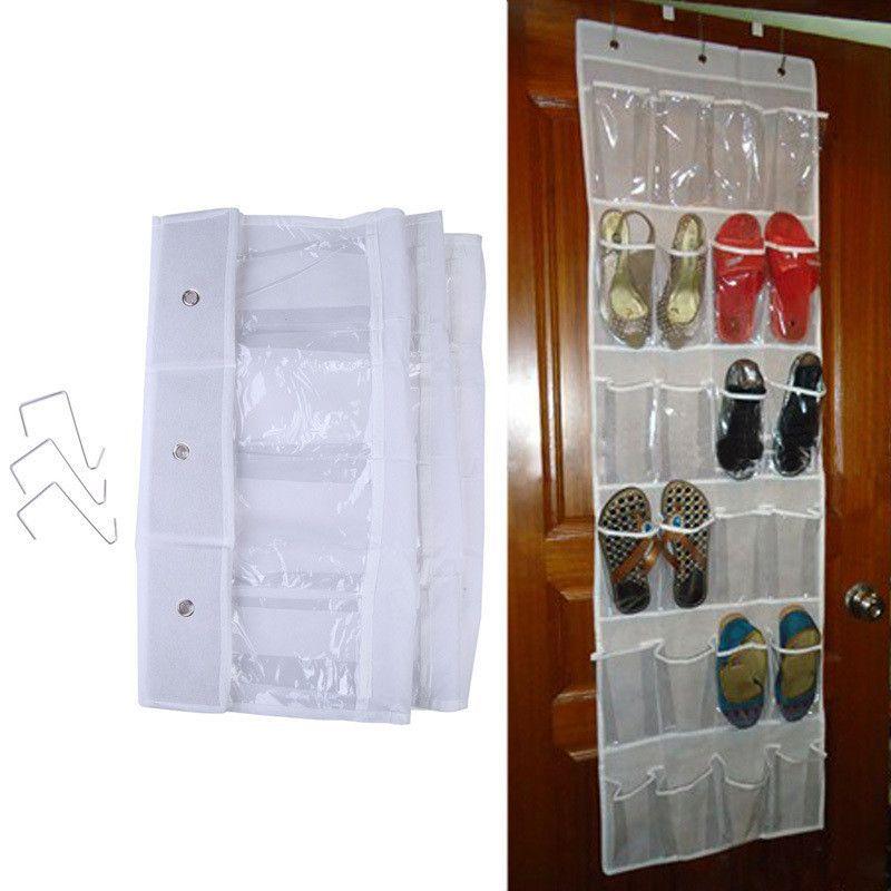 24 Pockets Door Hanging Holder Shoe Hanger Organizer Shoe Rack Wall Storage  Bag Room Factory Price