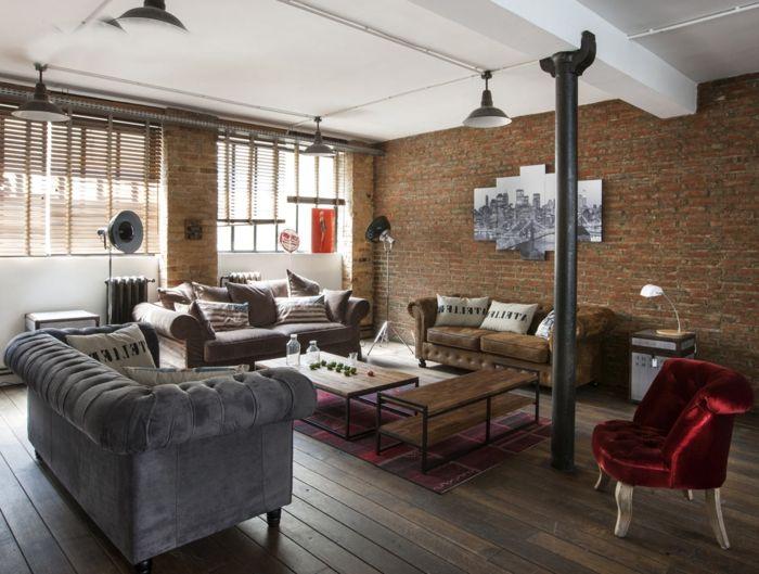 La deco loft new yorkais en 65 images | Industrial style, Salons and ...