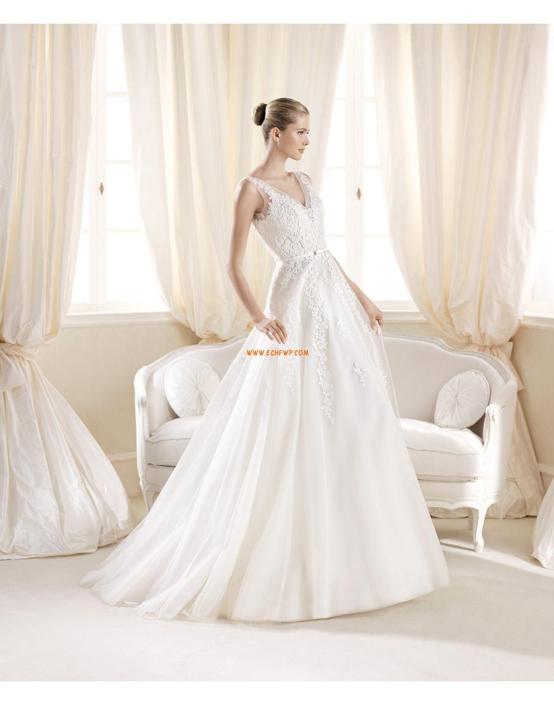 8992fcccf6aa Små vita klänningar V-ringad Spets Lyx Bröllopsklänningar ...