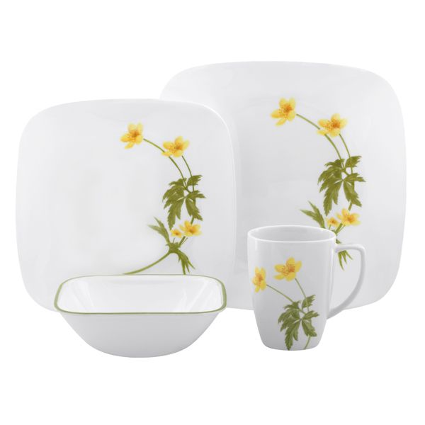 Corelle Square Vitrelle Dinnerware Set Service for Buttercup  sc 1 st  Pinterest & CORELLE DISHES PATTERNS | MY PATTERNS | Let\u0027s Dish Shall We ...