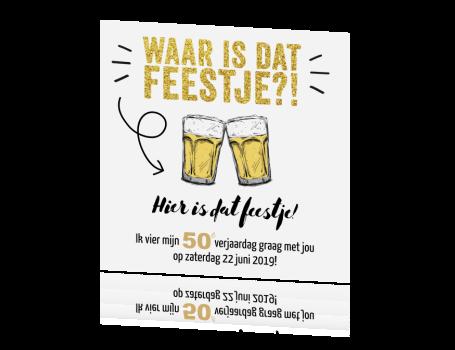 Genoeg Uitnodiging maken 50e verjaardag met glitter en bier | pa 75 @LH42