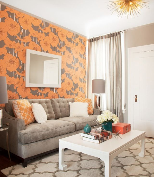 melanie coddington, wallpaper, wallpaper trends, living room wallpaper, contemporary style, orange pattern, 2015 trends