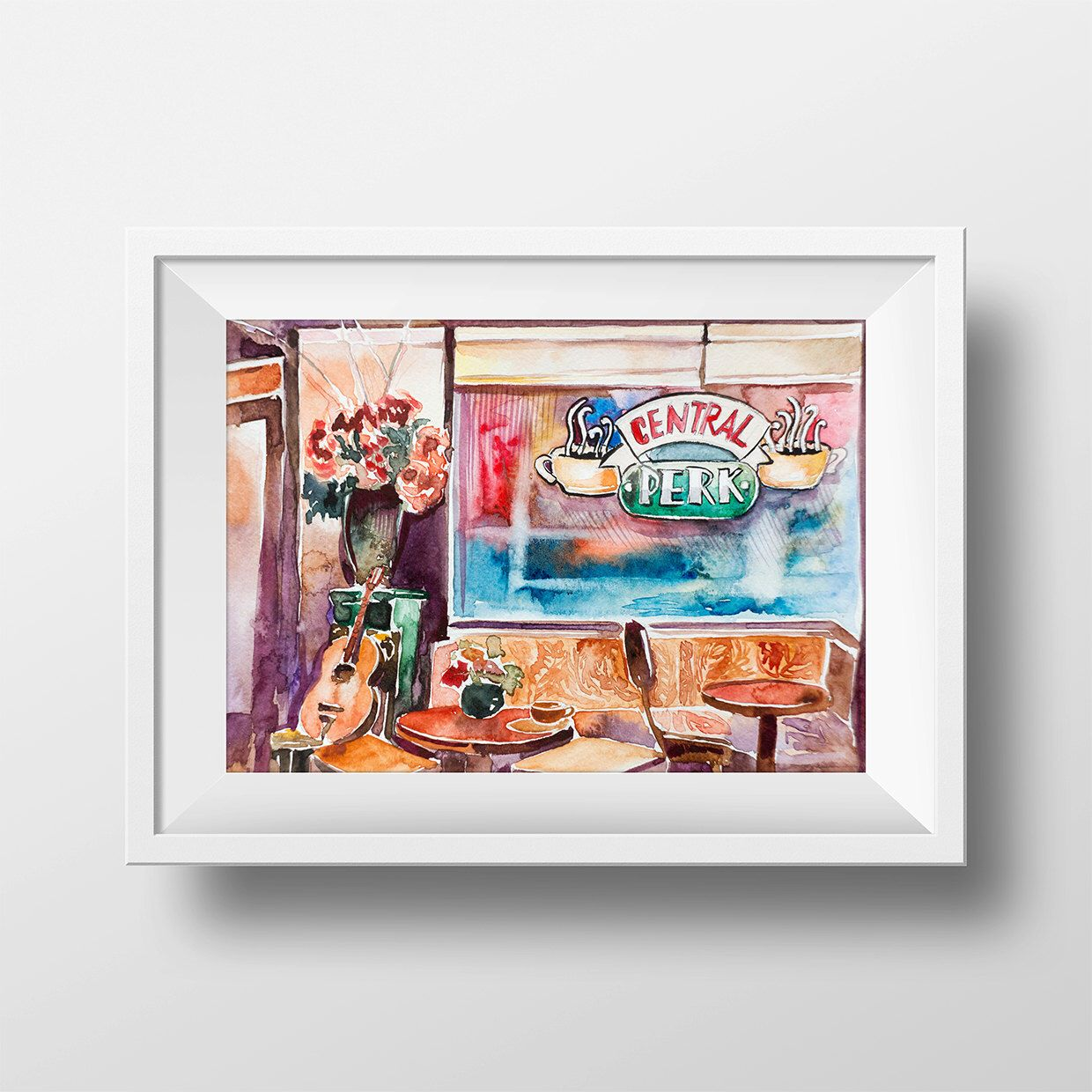 Wall Art Friends TV Show Central Perk Cafe Interior Watercolor Print ...