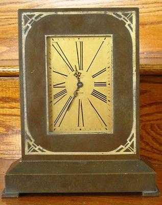 Arts & Crafts Silver over Bronze Desk Clock