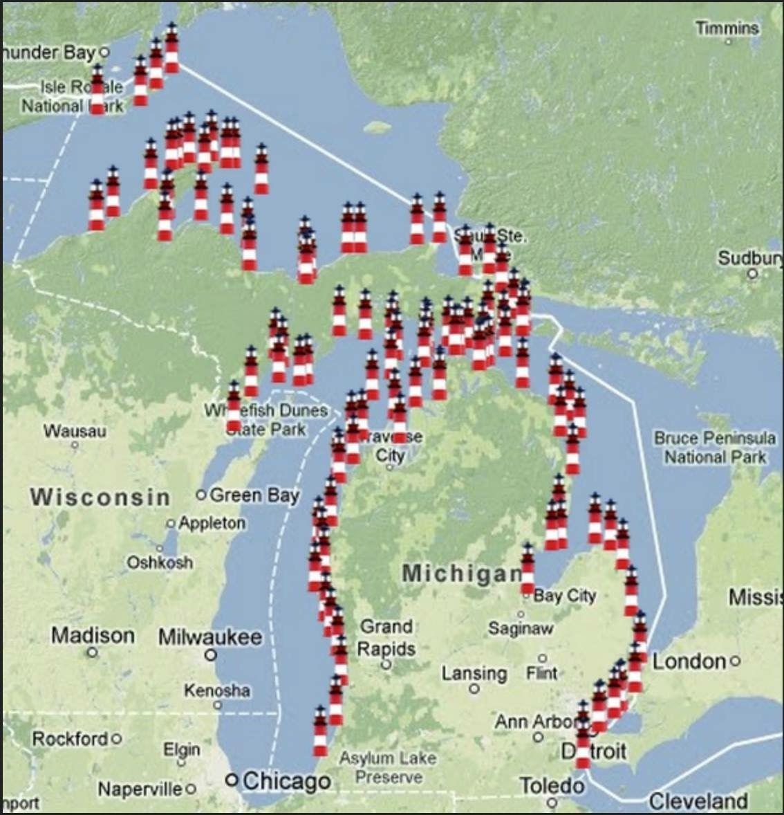 Michigan Lighthouses Map Pin by Barbara Mills on Michigan Lighthouses   Lighthouse  Michigan Lighthouses Map