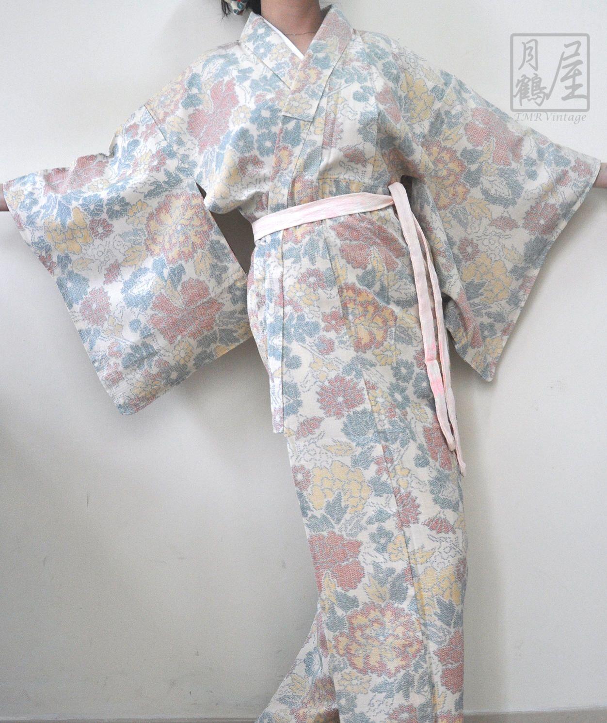 0206c8716 Japanese Silk Long Kimono/Vintage Authentic Floral Full Length Kimono Robe/ Kimono Gown/