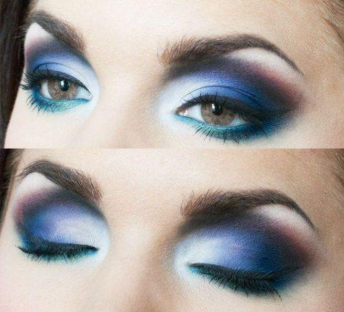 Maquillaje ojos ahumados en tonos azules Make up and nails