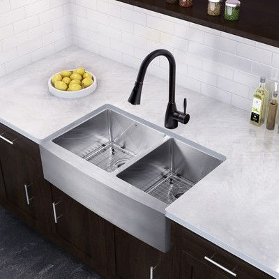 Vigo 36 Inch Farmhouse Apron 60 40 Double Bowl 16 Gauge Stainless Steel Kitchen Sink With Aylesbury Antique Rubbed Bronze Faucet Two Grids And Two Farmhouse Sink Kitchen Single Bowl Kitchen Sink