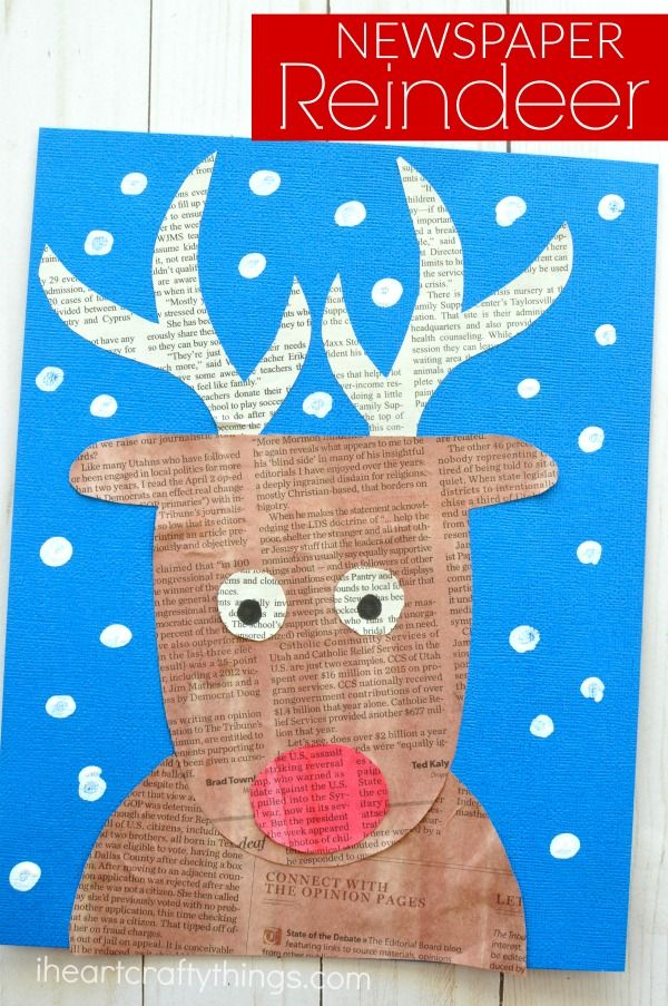 Repurpose newspaper into an awesome newspaper reindeer craft. Great Christmas kids craft, rudolph craft for kids and Christmas arts and crafts ideas. #christmascrafts #ChristmasCraft #reindeercrafts #reindeerchristmas #rudolphtherednosedreindeer #papercrafts #iheartcraftythings