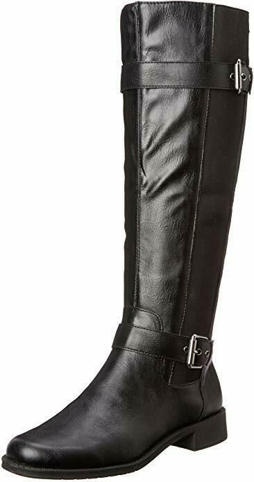NEW! Aerosoles Womens Ride Out Equestrian Boots Double Zipped Black 150J - Black...