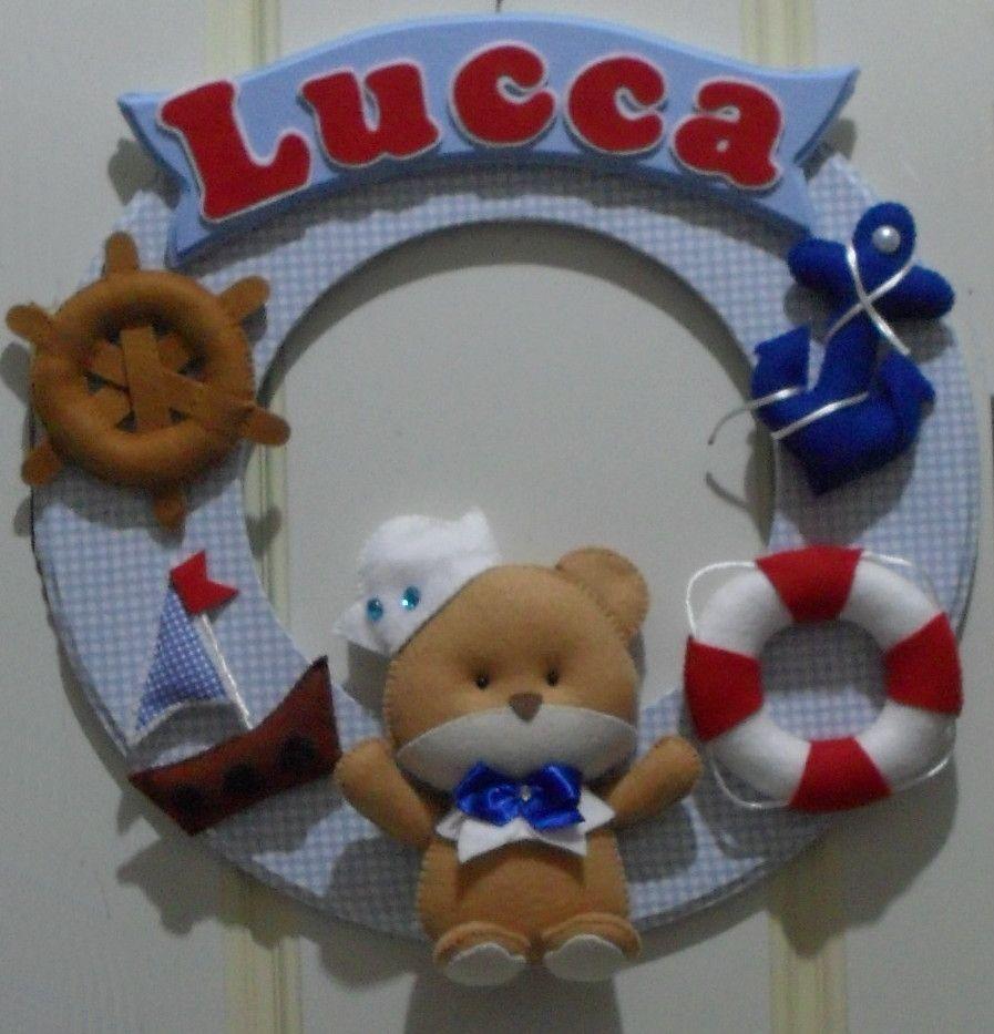 Enfeite De Porta Maternidade Urso Marinheiro Mod 02 Crafty ~ Enfeite De Quarto De Bebe Em Feltro