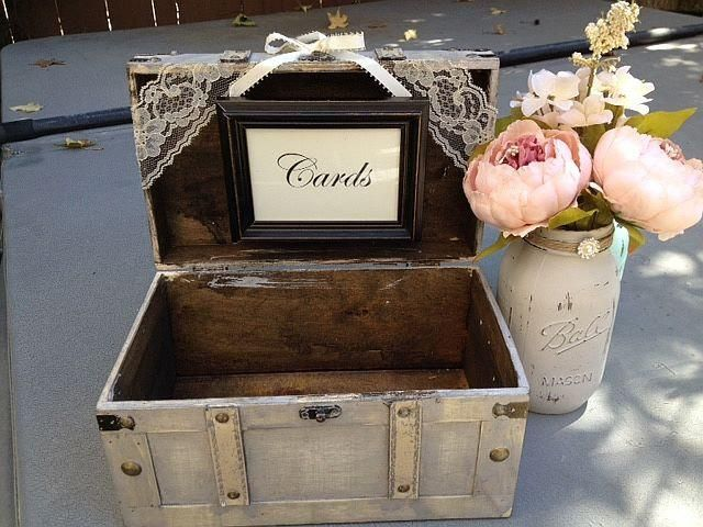 How To Decorate A Card Box For A Wedding Rustic Ivory Wedding Card Box With Cards Sign Guest Table Decor