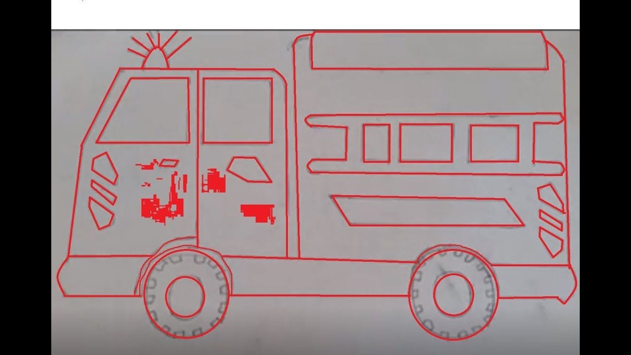 Drawing Fire Rescue Araba Cizimi Drawing Truck Car Itfaiye Cizimi Kolay Coloring For Kids Toy Car Trucks