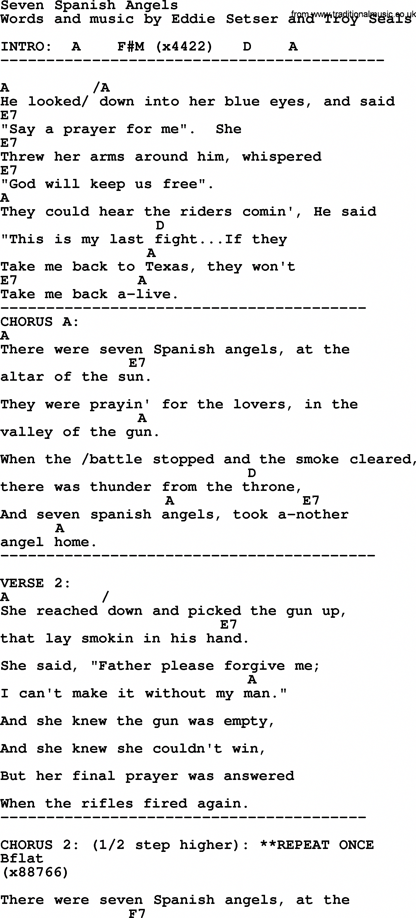 Willie Nelson song Seven Spanish Angels, lyrics and chords ...